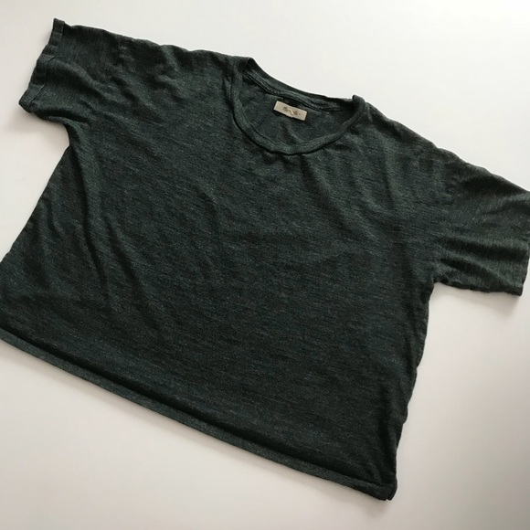 102516296e033f Madewell Tops - Madewell Heathered Dark Green Crop Top Sz M